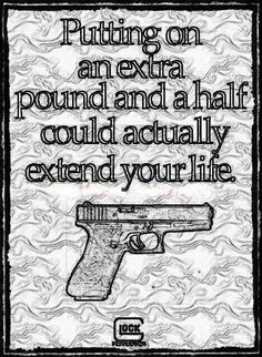 Glock. a pound and a half  First rule:  having a gun at the gunfight