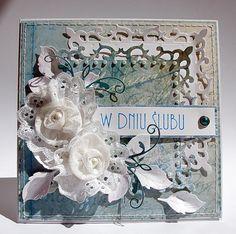 card vintage with flowers, magnolia rose leaf, Spellbinders S4-318 Nestabilities Fleur de Lis Squares Die - memorybox decorative corner - Dorota_mk