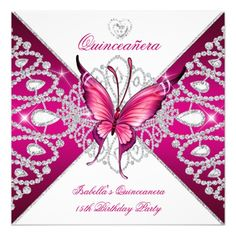 Quinceanera 15th Party Dark Pink Butterfly Tiara 5.25x5.25 Square Paper Invitation Card