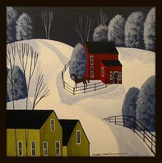 Original Painting Folk Art Landscape Primitive Country Snow Winter Horse Town | eBay