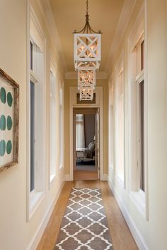 Beauteous Design Narrow Hallway Lighting Featuring White Cube Shape Pendant  Lamps And Beige Wall Paint Color