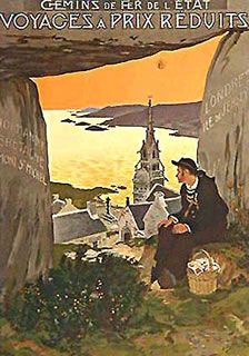 NORMANDIE BRETAGNE   by   poster artist MATET, and original vintage poster, this was printed around 1920, and advertised a beautiful eastern coast French escape.