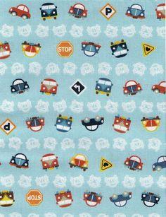 Hochwertiger japanischer Stoff 100% Baumwolle    Käfer und VW-Bus aufhellblauem Hintergrund.    Die Autos sind ca.1,2cm hoch.    Der oben angegeben...