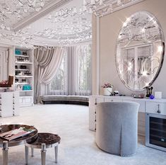 ~ A great dressing room vignette but too monotonous for my tastes. I'd much prefer more earth tones--adding red for a great pop of colour. Walk In Closet Design, Closet Designs, Dream Closets, Dream Rooms, Dressing Room Design, Luxury Closet, Glam Room, Suites, Dream Home Design