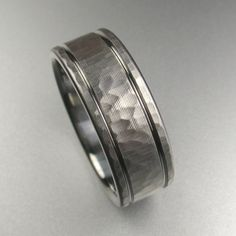 Men's Hammered Stripes Wedding Band made by Spexton.com