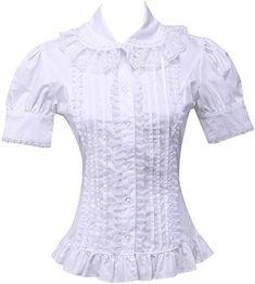 Amazing offer on Hugme Cotton White Ruffle Lolita Blouse online - Fancylookstar White Cotton Blouse, Cotton Blouses, Shirt Blouses, Frilly Shirt, Ruffle Shirt, Fancy Dress Store, Victorian Shirt, Lolita Mode, Blouse Online
