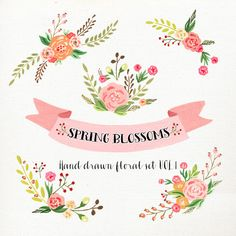 Watercolor Flower Clipart Wedding floral Clip art by DigitalCloud