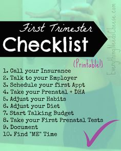 New Mommy Series: First Trimester Checklist  - 10 things to make sure you do during early pregnancy! | Everything Needs Cheese #printable