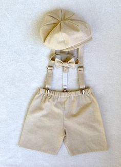 Ring bearer outfit, Cake smash outfit, Newsboy Set, Natural Baby clothes, Linen, Cotton, Baby Boy, Ring Bearer outfit with hat, Newsie on Etsy, $93.00