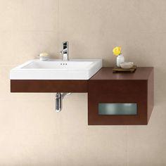 Ronbow Adina Wall Mount Bathroom Vanity Set in Dark Cherry - Left or Right Side Sink Bathroom Vanity, Bathroom Vanity Cabinets, Vanity, Vanity Sink, Small Bathroom Vanities, Modern Bathroom Vanity, Ronbow, Sink, Ada Bathroom
