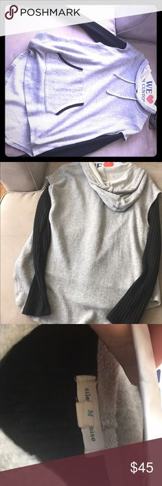 Silent & Noise gray sweatshirt with black sleeves Black sweater built in to sweatshirt. Excellent condition. silence + noise Tops Sweatshirts & Hoodies