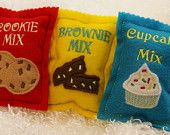 Set of 3 felt food baking mixes- cupcake, cookie, and brownie