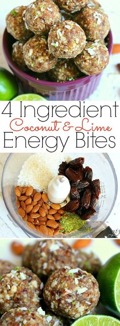 4 Ingredient Coconut Lime Energy Bites This easy no bake recipe will quickly become your favorite healthy snack especially during the hot summer months! Gluten-free dates almonds coconut and lime combine to create a clean eating Paleo 21 Day Fix Easy Baking Recipes, Raw Food Recipes, Cooking Recipes, Healthy Recipes, Cooking Kids, Snacks Recipes, Vegetarian Recipes, Recipes With Dates Healthy, Paleo Recipes For Kids