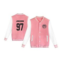 bts varsity jacket ❤ liked on Polyvore featuring outerwear, jackets, college jacket, red varsity jacket, red letterman jacket, letterman jacket and varsity style jacket