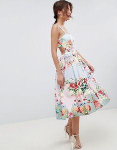 ASOS | ASOS DESIGN square neck floral scuba prom dress