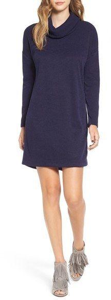 Lush Long Sleeve Cowl Neck Sweater Dress