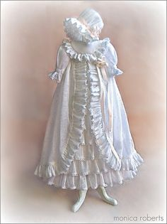 Gorgeous! And the details! ~ 1:12th scale miniature christening gown and bonnet ... by Monica Roberts