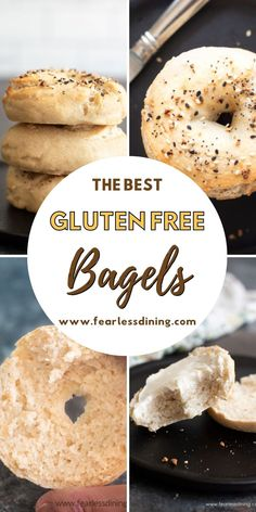 These homemade gluten free bagels are the best bagels. Options to make flavored bagels and more for the perfect gluten free breakfast. Dairy free and egg free bagels made from scratch. Use sourdough starter or packet yeast. www.fearlessdining.com Good Gluten Free Bread Recipe, Gluten Free Bagels, Gluten Free Recipes For Breakfast, Gluten Free Breakfasts, Recipes With Yeast, Bread Recipes, Bagel Toppings, Best Bagels, Homemade Bagels
