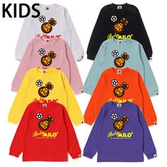 3a330329b A BATHING APE BAPE KIDS MILO FOOTBALL OVERHEAD L/S TEE 8colors From Japan  New #fashion #clothing #shoes #accessories #kidsclothingshoesaccs  #unisexclothing ...