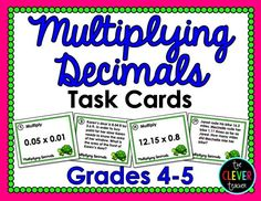 32 Multiplying Decimals Task Cards: These task cards are a great way for… Comparing Decimals, Dividing Decimals, Multiplying Decimals, Fractions, Percents, Place Value With Decimals, 5th Grade Math, Fourth Grade, Third Grade