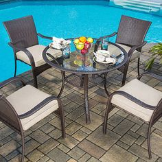 Outdoor Dining Set Wicker Patio Garden Yard Furniture New Seats 4 Patio Dining Chairs, Outdoor Dining Set, Outdoor Rooms, Outdoor Living, Outdoor Decor, Dining Sets, Dining Table, Patio Furniture Sets, Rattan Furniture
