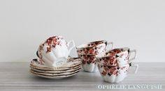 Set of 5 Vintage Hand Painted Tuscan China England 6470 Black, Brown, Burnt Sienna Imari Inspired Tea Cups and Saucers - Made in England available at Ophélie Languish.   home, living, dining, kitchen, serveware, drinkware, tuscan china, england, english, tea party, tea cup, saucer, set, brown, burnt sienna, imari, floral, gold, ornate