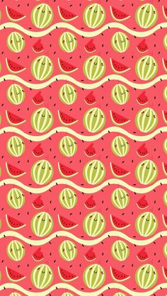 Watermelons - tap to see cute food cartoon wallpaper for foo