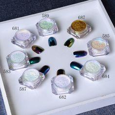 Venta CALIENTE 8 Unids Brillo Espejo Brillo de Uñas Camaleón Polvo Gorgeous Lentejuelas Cromo Pigmento de Uñas Manicura Del Arte Del Clavo Glitters