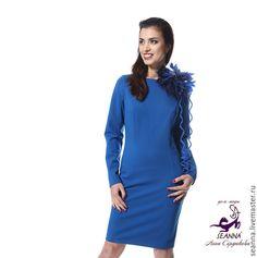 """Купить Платье """"Морские глубины"""" из плотного трикотажа классически выверенное - платье красивое купить, платье"""