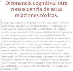 La #disonanciacognitiva es producida por la alternancia de las fases de abuso y de luna de miel. Es la herramienta que utiliza el #abusador para que no lo abandones. Más en https://sobreviviendoapsicopatasynarcisistas.wordpress.com/2014/06/19/disonancia-cognitiva-otra-consecuencia-de-estas-relaciones-toxicas/