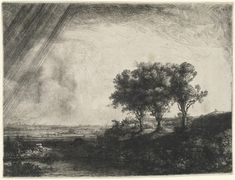 """Rembrandt van Rijn, """"Landscape with Three Trees"""" etching with drypoint and engraving (image courtesy Princeton University Art Museum, Museum purchase, Fowler McCormick, Class of Fund and Laura P. Hall Memorial Fund in memory [. Rembrandt Etchings, Rembrandt Drawings, Rembrandt Art, Rembrandt Paintings, Städel Museum, Drawn Art, Dutch Painters, Art Plastique, Tree Art"""