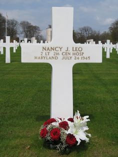 Luxembourg American Cemetery ~ Only one woman is buried here. Nancy Leo entered the service from Cumberland, MD, and died in Paris, France July 24, 1945. Gen. Patton is also buried here.