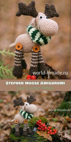 Stephen Moose Amigurumi [Free Crochet Pattern]