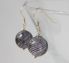 blown glass and silver earrings -clear and navy blue £10.00