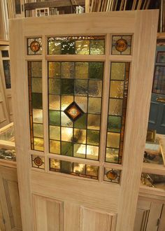 interior french doors with glass | Stained Glass Interior Vestibule Door