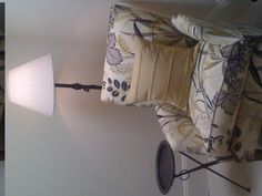 Office - reading nook with Indian metal side table, floor lamp and patterned armchair