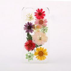 Handmade pressed flower phone case for iPhone and Samsung, made from real pressed flowers.  Please note as these cases are made from real flowers, there may be slight variations to the case shown in the image.