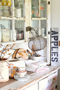 Love this except I would paint the hutch a bit less distressed and cover up the pink on it.