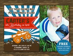 Monster Truck Birthday Invitation - Printable - FREE pennant banner and thank you card with purchase on Etsy, $15.00
