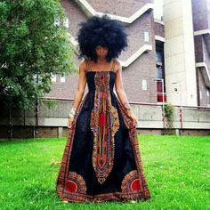 African Dashiki Print Maxi Dress And Afro African Inspired Fashion, African Print Fashion, Fashion Prints, African Prints, African Patterns, Africa Fashion, Tribal Fashion, African Fabric, African Attire