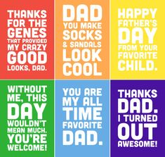 Funny Father's Day Printable Cards 5x7 includes 6 por alexazdesign