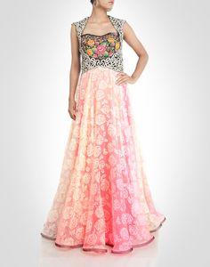 floral zardosi and rhinestone work enriched gown. Shop Now: www.kimaya.in