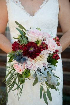 Sarah Kolbeck  Rustic Chic Ski Lodge Wedding Gingham, Navy, Red, Slate Gray, Maroon Bridal Flowers