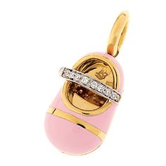 18K yellow gold all pink with diamond strap of .07 cts