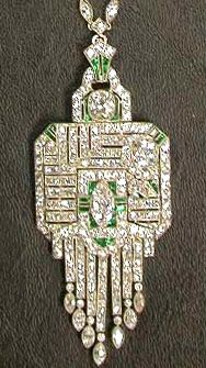 Art deco peridot & diamond pendant