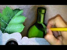 Roniel Coimbra - pintura em tecido garrafa parte 2 - YouTube