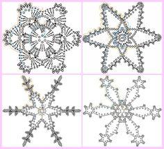 Fiocchi di Neve all'Uncinetto | Alluncinetto.it Crochet Star Patterns, Crochet Snowflake Pattern, Crochet Stars, Christmas Crochet Patterns, Holiday Crochet, Crochet Snowflakes, Christmas Knitting, Thread Crochet, Crochet Doilies