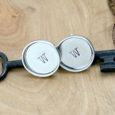 Personalized Sterling Silver Cuff Links by 2sistershandcrafted | Visit www.2sistershandcrafted.com