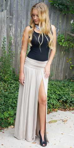 Mocha color skirt with double slits. Model is 5'4' wear small.