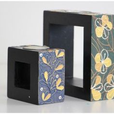 Candle Holders : Wooden Tealight Holders, Mango Wood Square Shape Painted Set of 2 pc  $49